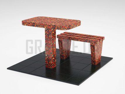 Лавка + Стол LS-01 Капустинский гранит