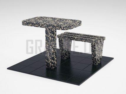 Лавка + Стол LS-01 Корнинский гранит