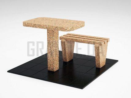 Лавка + Стол LS-01 Межиричский гранит