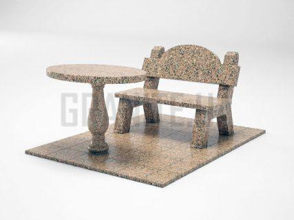Лавка + Стол LS-03 Межиричский гранит