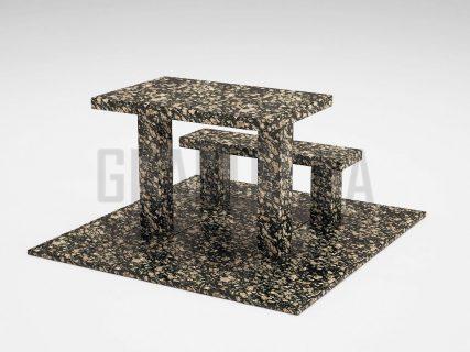 Лавка + Стол LS-07 Корнинский гранит