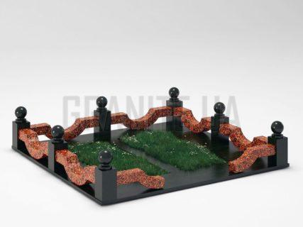 Могильная ограда OG-01 Капустинский гранит