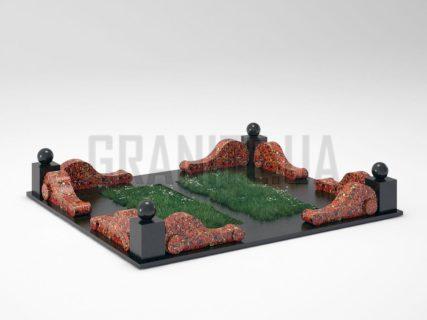 Могильная ограда OG-05 Капустинский гранит