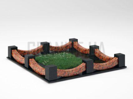 Могильная ограда OG-09 Капустинский гранит
