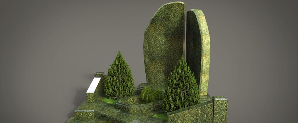 Памятник из зеленого гранита